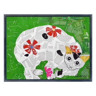 Kitty Cats A' Original Handmade Paper Collage Signed by Gianni Framed Graphic Art