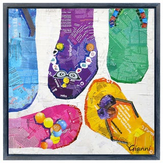 Flip Flop Dreams B' Original Handmade Paper Collage Signed by Gianni Framed Graphic Art