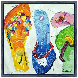 Flip Flop Dreams A' Original Handmade Paper Collage Signed by Gianni Framed Graphic Art