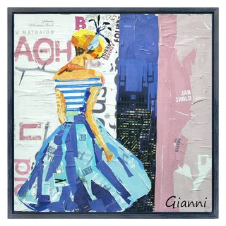 Haute Couture B' Original Handmade Paper Collage Signed by Gianni Framed Graphic Art