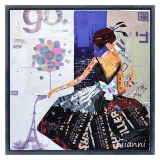 Haute Couture A' Original Handmade Paper Collage Signed by Gianni Framed Graphic Art
