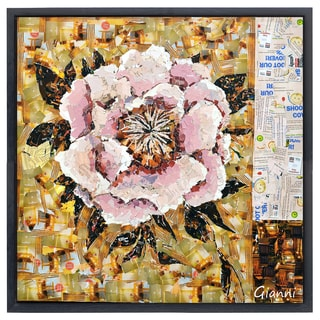 Florals B' Original Handmade Paper Collage Signed by Gianni Framed Graphic Art