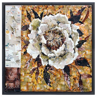 Florals A' Original Handmade Paper Collage Signed by Gianni Framed Graphic Art