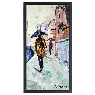 City Rain' Original Handmade Paper Collage Signed by Gianni Framed Graphic Art