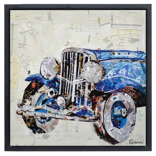 Antique Automobile B' Original Handmade Paper Collage Signed by Gianni Framed Graphic Art