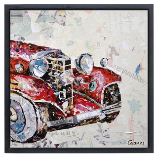Antique Automobile A' Original Handmade Paper Collage Signed by Gianni Framed Graphic Art