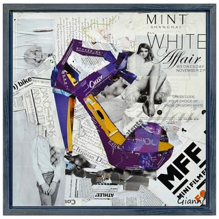 Stiletto A' Original Handmade Paper Collage Signed by Gianni Framed Graphic Art