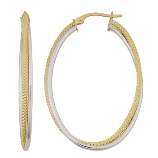 Fremada 18k Two-tone Gold Italian High Polish and Textured Double Oval Hoop Earrings