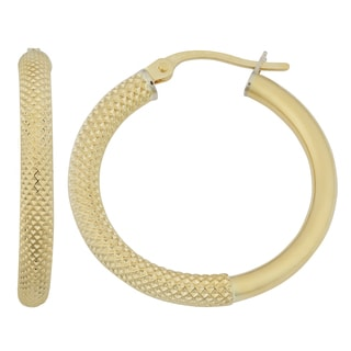 Fremada 18k Yellow Gold Italian Textured Hoop Earrings