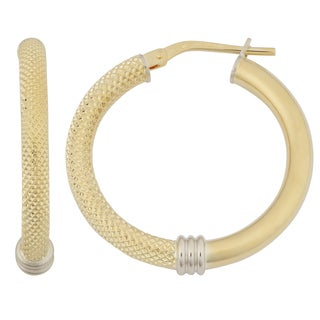 Fremada 18k Yellow Gold Italian 3X20-mm High Polish and Textured Stylish Hoop Earrings
