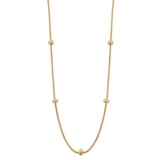 Fremada 18k Yellow Gold Italian High Polish Bead Station on Popcorn Chain Necklace (17.5 inches)