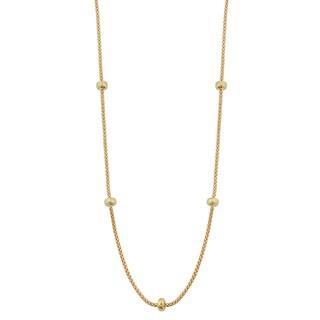 Fremada 18k Yellow Gold Italian High Polish Bead Station Popcorn Chain Necklace (17.5 inches)