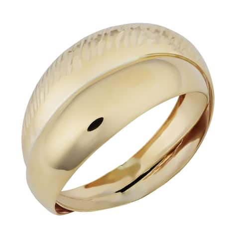 10k Yellow Gold Italian High Polish and Diamond-cut Double Dome Ring (size 7 or 9)