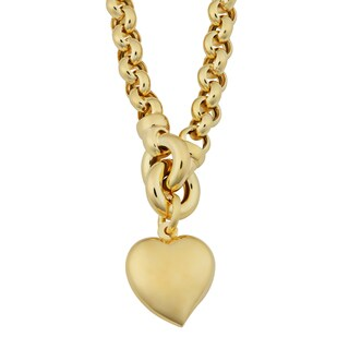 Fremada 18k Yellow Gold Italian Puffed Heart Rolo Necklace (17.5 inches)