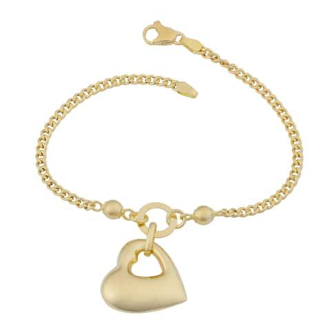 Fremada 18k Yellow Gold Italian Puffed Heart Bracelet (7.5 inches)
