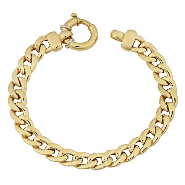 18k Womens Gold Bracelet 7 5 Inches Curb Chain 8 Millimeters