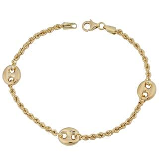 Fremada 18k Yellow Gold Italian Puffed Mariner Station on Rope Chain Bracelet