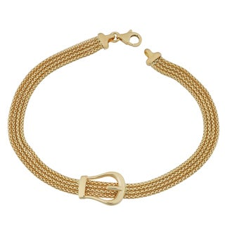 Fremada 18k Yellow Gold Italian Multi Strand Belt Buckle Bracelet (7.5 inches)