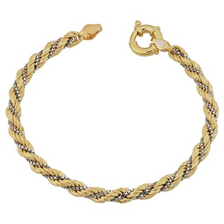 Fremada 18k Two-tone Gold Italian 5.3-mm, 7.5-inch Twisted Rope with Box Chain Bracelet