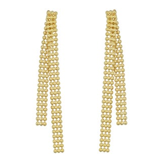 Fremada 18k Yellow Gold Italian 3-row Diamond-cut Bead Drop Earrings