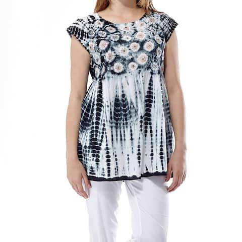 La Cera Women's Plus Size Voile Tie-Dyed Tunic Top
