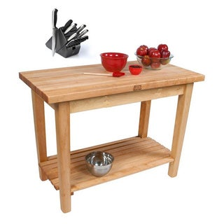 John Boos C06C Country Maple 48x30x35 Work Table with Casters / Shelf and Bonus Henckels 13-piece Knife Block Set
