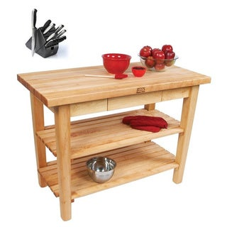 John Boos C06C-D-2S Country Maple 48x30 Work Table with Drawer / 2 Shelves / Casters and Bonus Henckels 13-piece Knife Block Set