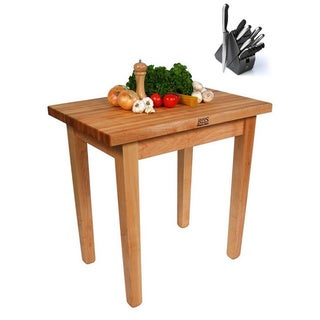 John Boos C06C Country Maple 48x30x35 Work Table with Casters and Bonus Henckels 13-piece Knife Block Set