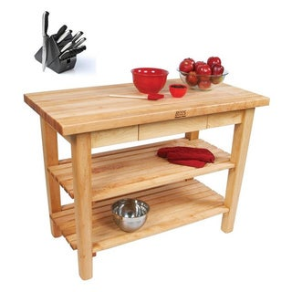 John Boos C06C-D-2S-TLR Country Table 48x30 Towel Rack / Drawer / 2 Shelves / Casters and Bonus Henckels 13 Pc Knife Block Set