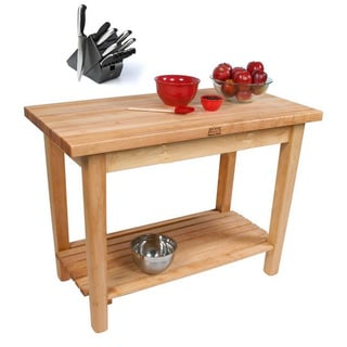 John Boos C06C-S-TLR Country Table 48x30 Towel Rack / Shelf / Casters and Bonus Henckels 13 Pc Knife Block Set