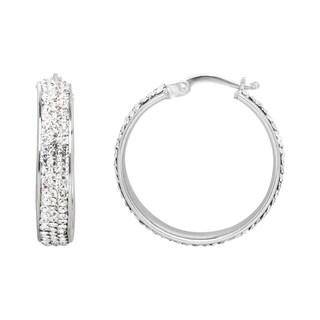Rhodium-Plated Crystal Hoop Earrings