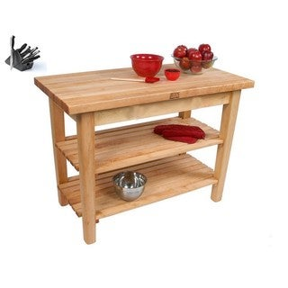 John Boos C06C-2S Country Maple 48x30 Work Table with / 2 Shelves / Casters and Bonus Henckels 13-piece Knife Block Set