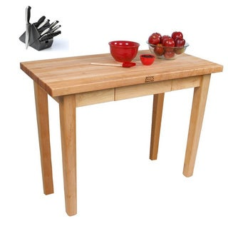 John Boos C07-D Country Maple 60x30x35 Work Table with Drawer and Henckels 13-piece Knife Block Set