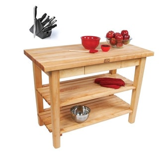 John Boos C07-D-2S Country Maple 60x35 Table with Drawer / 2 Shelves /Towel Rack and Henckels 13-piece Knife Block Set
