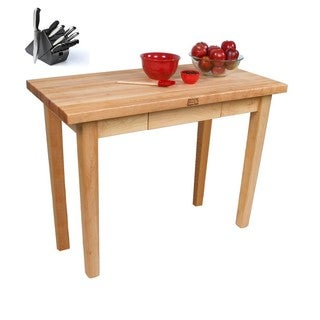 John Boos C067C-D Country Maple 60x30x35 Work Table with Drawer / Casters and Bonus Henckels 13-piece Knife Block Set