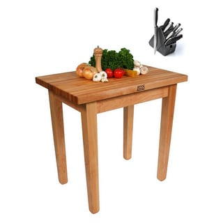 John Boos C07-TLR Country Maple 60x30x35 Work Table with Towel Rack and Bonus Henckels 13-piece Knife Block Set