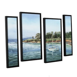ArtWall Irina Sztukowsi's Sailboat At The Shore 4-piece Floater Framed Canvas Staggered Set