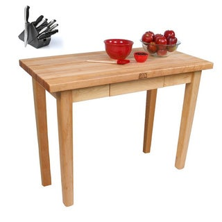 John Boos C07-2D Country Maple 60x30x35 Work Table with 2 Drawers and Henckels 13-piece Knife Block Set