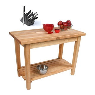 John Boos C07C-S Country Maple 60x30x35 Work Table with Casters / Shelf and Bonus Henckels 13-piece Knife Block Set