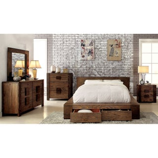 Furniture of America Shaylen II Rustic 4-piece Natural Tone Low Profile Storage Bedroom Set (3 options available)