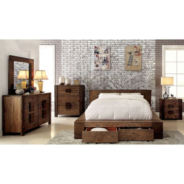 Furniture Of America Shaylen II Rustic 4 Piece Natural Tone Low Profile  Storage Bedroom Set