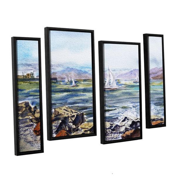 ArtWall Irina Sztukowsi's Richmond Shore 4-piece Floater Framed Canvas Staggered Set