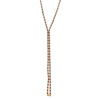Isla Simone - 14 Karat Gold Plated Single Row X-Shape Necklace in Color Crystal