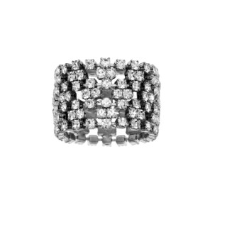 Isla Simone - 1.5 cm Width Flexible Ring with Crystals
