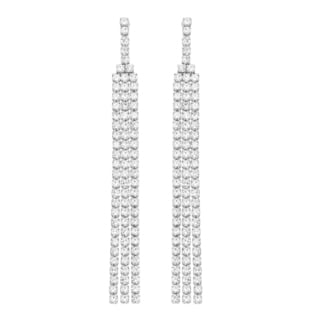 Isla Simone - 3 Row Drop Down Earring with Crystal