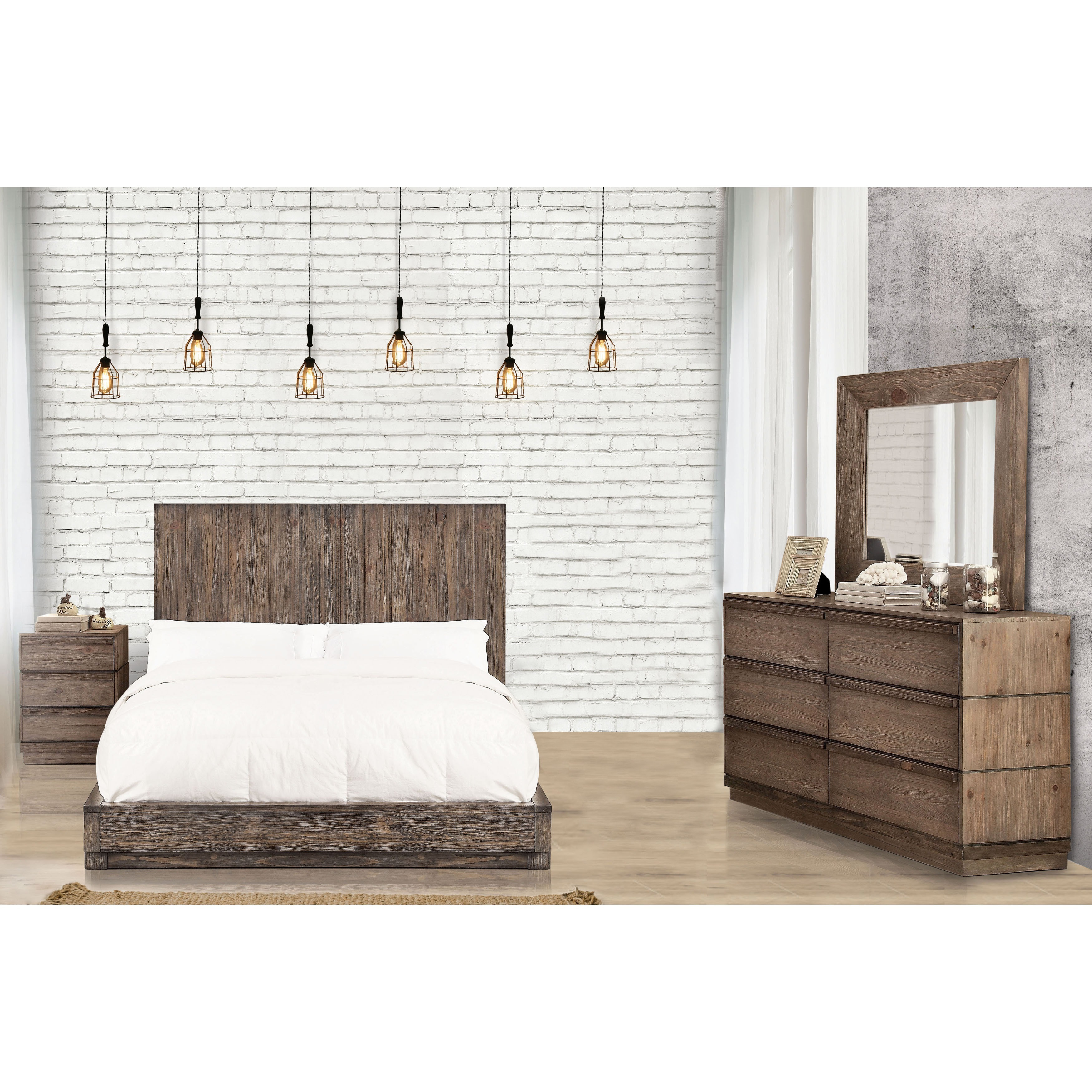 Shop furniture of america remings rustic 4 piece natural - Bedroom furniture set online shopping ...