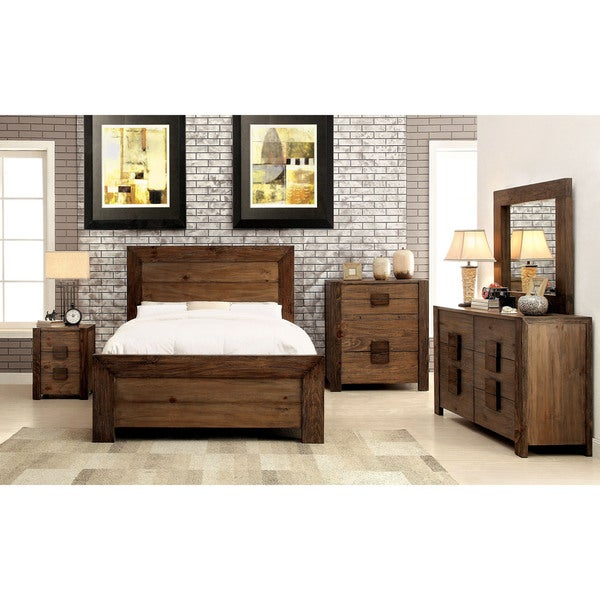Shop Furniture Of America Kailee Rustic 4 Piece Natural Tone Bedroom Set Free Shipping Today