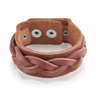 Men's Leather Weaved Cuff Bracelet - 7.75 inches (27mm Wide) (3 options available)