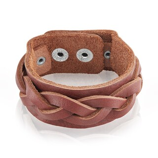 Men's Leather Weaved Cuff Bracelet - 7.75 inches (27mm Wide)