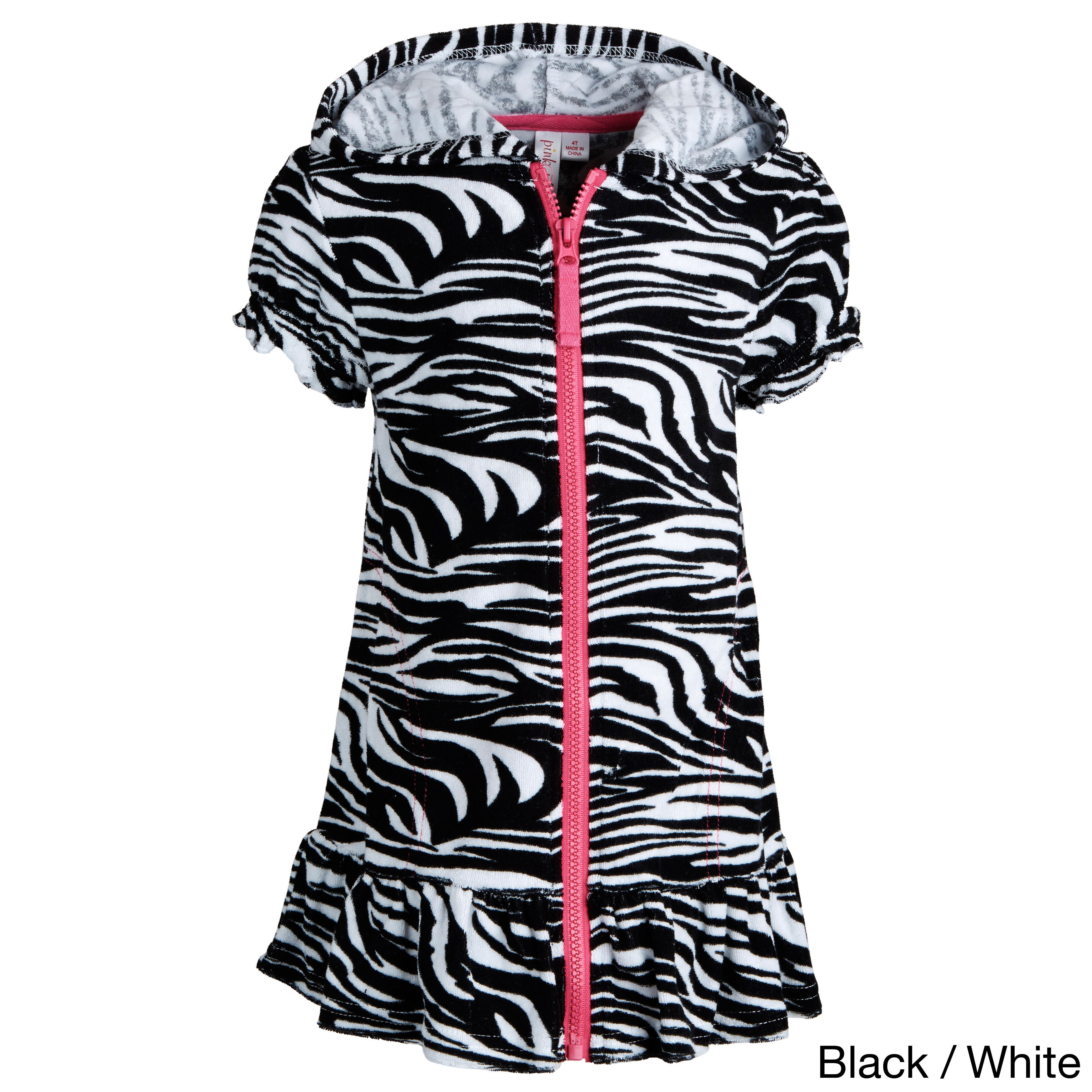 Pink Platinum Girls Hooded Terry Swim Cover Up Swim Coverup